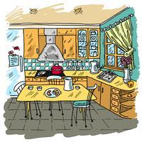 Esboço colorido de cozinha