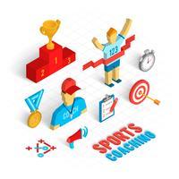 Conjunto isométrico de treinamento esportivo vetor