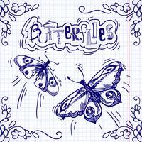 Borboletas doodle ornamento vetor