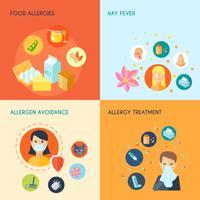 Conjunto plano de alergia vetor