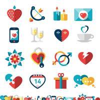 Namoro conjunto de ícones vetor