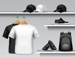 Prateleira de loja de roupas esportivas vetor