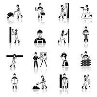 Ícones de trabalhador de construção pretos