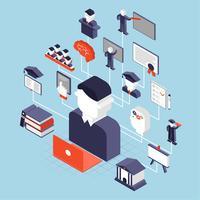 Ensino Superior Isométrico vetor