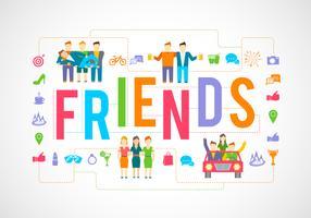 Amigos, ícones, apartamento vetor