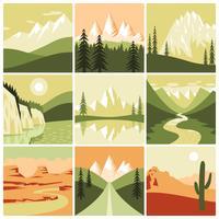 Natureza montanha ícones