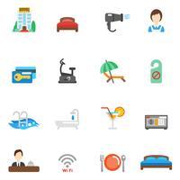 Conjunto de ícones plana de Hotel