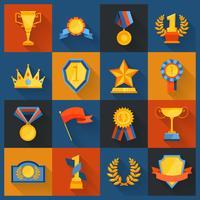 Prêmio, ícones, jogo, apartamento vetor