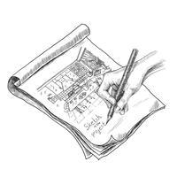 Ilustração de esboço de cozinha