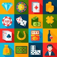 Ícones lisos do casino