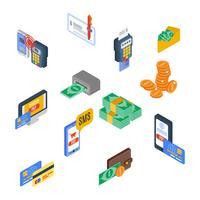Ícones de pagamento isométrico