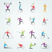 Conjunto de ícones de esportes com deficiência