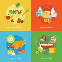 Conjunto de comer saudável plana vetor