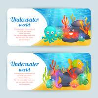 Conjunto de bandeiras horizontais de animais marinhos subaquáticos vetor