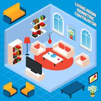Interior isométrica da sala de estar vetor