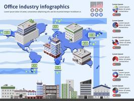 Infografia de indústria de escritório vetor