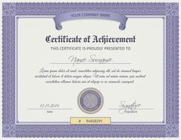 Modelo de certificado de qualificação vetor