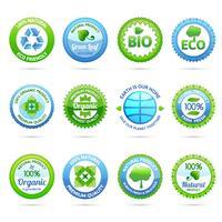 Conjunto de etiquetas de ecologia vetor