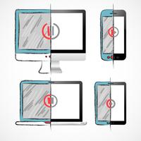 Conjunto de dispositivos digitais vetor