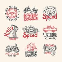 Conjunto de emblemas de corrida vetor