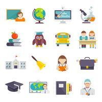Escola, ícone, apartamento vetor