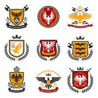 conjunto de emblema de águia vetor