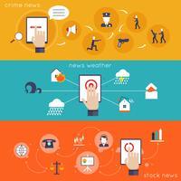 Ícone plano de notícias de aplicativos móveis vetor
