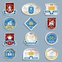 Conjunto de pictogramas de emblemas universitários vetor