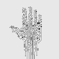 Mão de placa de circuito vetor