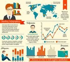 Conjunto de infográfico de leitura vetor