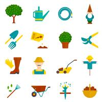 Conjunto de ícones plana jardim vegetal