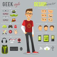 conjunto de estilo geek vetor