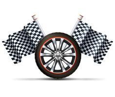 Roda de corrida com bandeiras vetor