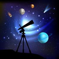 Fundo de espaço com telescópio vetor