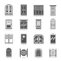 Conjunto de ícones de porta vetor