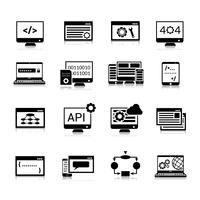 Ícones de programação preto vetor