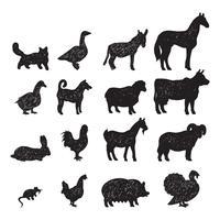 Fazenda animais silhuetas negras vetor