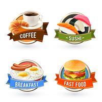 Conjunto de rótulos de café da manhã vetor