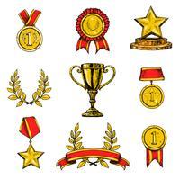 Prêmio ícones conjunto colorido