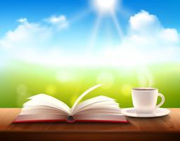 Café e livro vetor