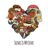 Coração de comida da Ásia