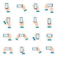 Mão, com, telefone, ícones vetor