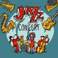 Cartaz de esboço de jazz vetor