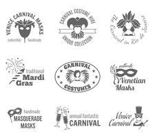 Conjunto de etiquetas de carnaval vetor