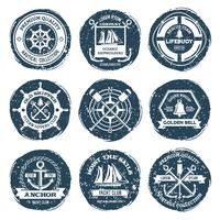 Etiquetas e selos náuticos vetor