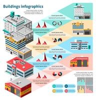 Conjunto de infográficos de edifícios vetor