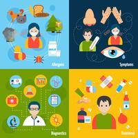 Conjunto de ícones de alergias vetor