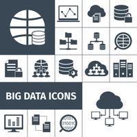 ícones de big data preto