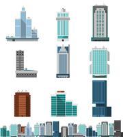 Conjunto de escritórios arranha-céu