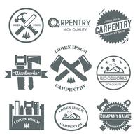 Conjunto de etiquetas de carpintaria vetor